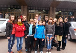 Children from Luhyny at BC 'Kyiv' game in Sports Palace
